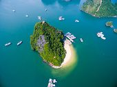 Beautiful seascape with Titov island in Halong bay from high view poster