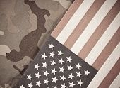 Military Theme Background With Camo And American Flag poster