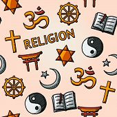 World religion hand drawn seamless pattern with - christian, Jewish, Islam, Buddhism, Hinduism, Taoism, Shinto, and book as symbol of doctrine. poster