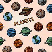 hand drawn planet pattern with - mercury and venus, earth and mars, jupiter, saturn, uranus, neptune, pluto. Vector illustration poster