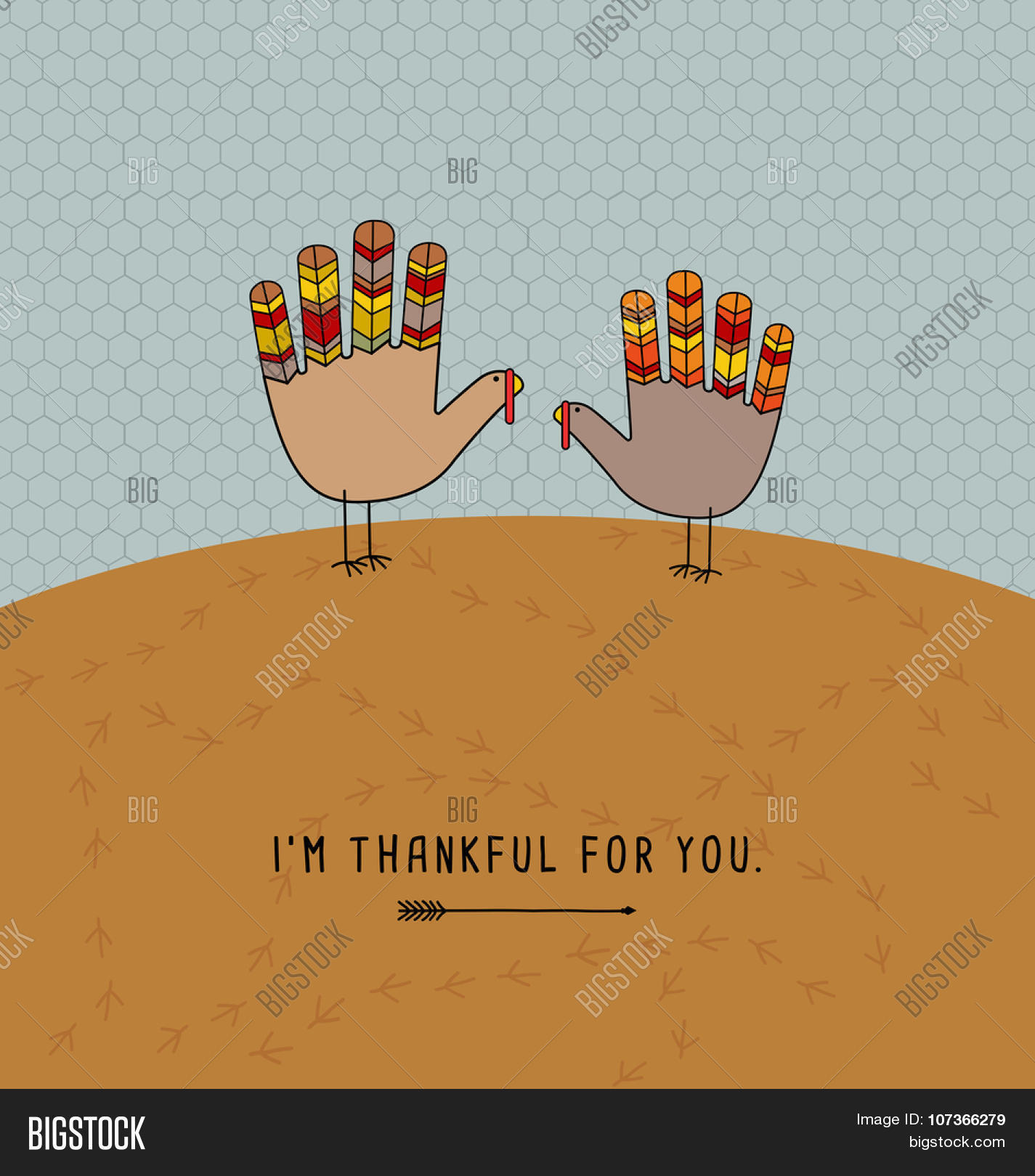 Thanksgiving card vector photo free trial bigstock thanksgiving card design with theme message and cute hand print turkeys m4hsunfo