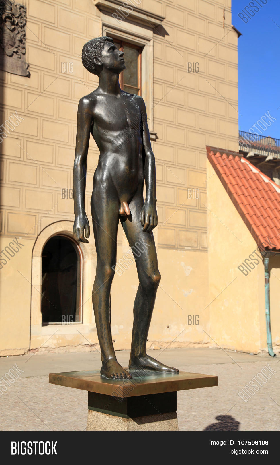 The Statue Of A Boy Youth In Prague Castle