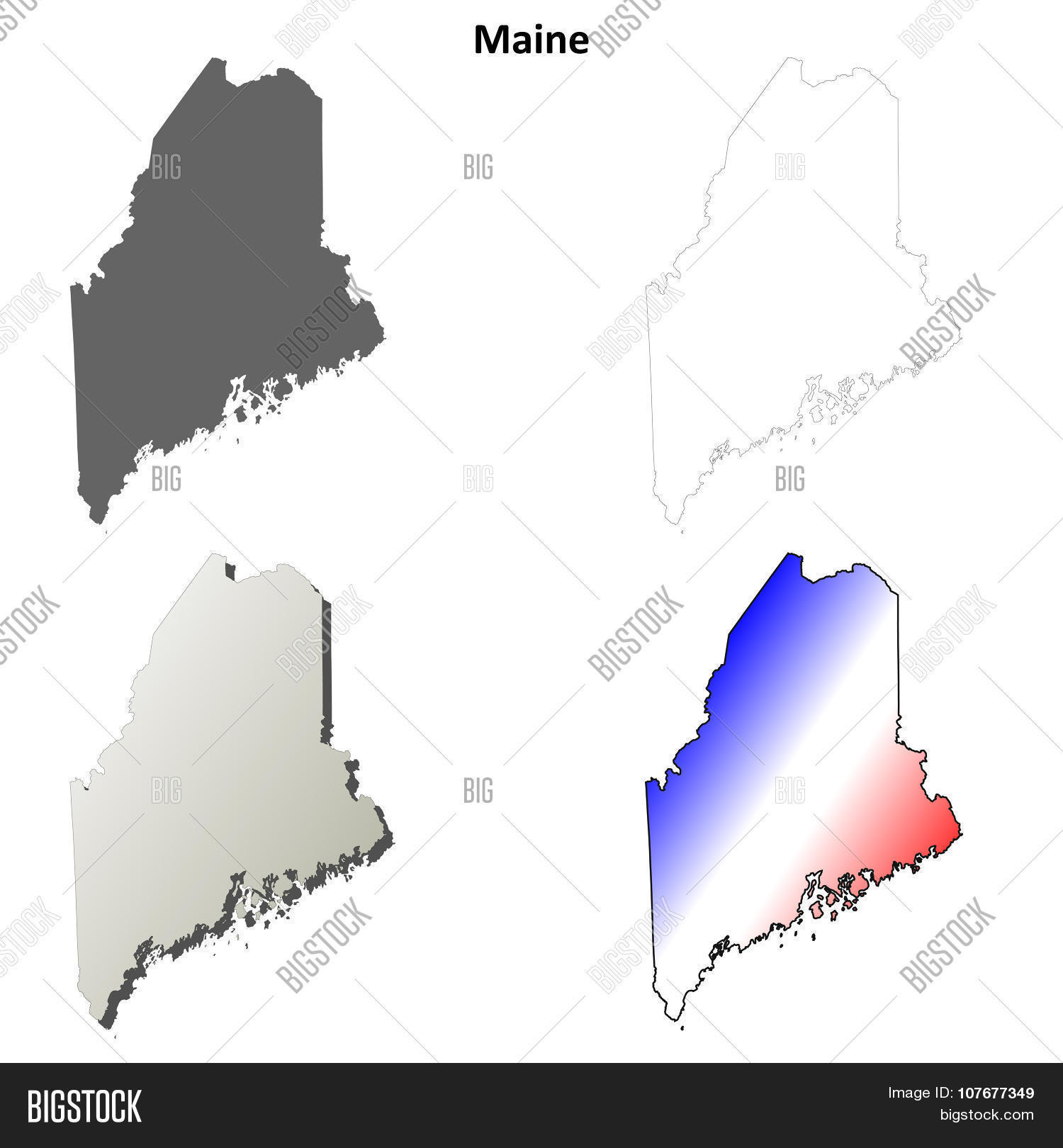 Maine Outline Map Set Vector Photo Free Trial Bigstock