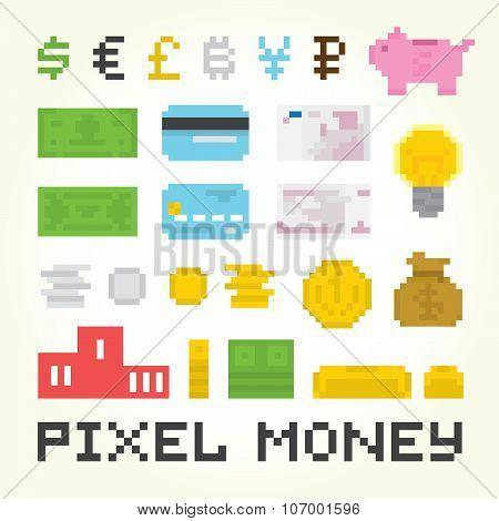 Pixel art money vector set