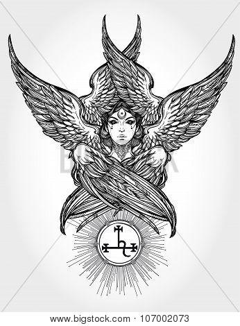 Hand drawn fallen angel Lilith portrait.