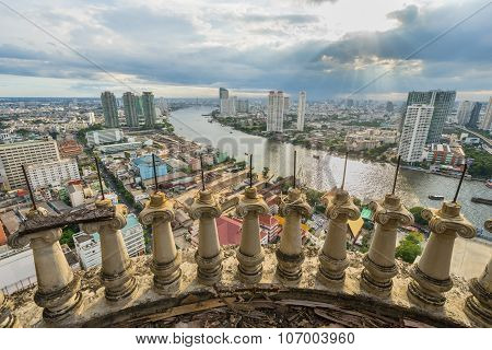 Chao Phraya River From Unfinished High Building Sky Scrapper In Heart Of Bangkok Thailand