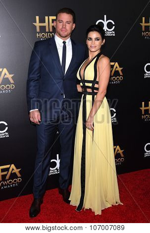 LOS ANGELES - NOV 1:  Channing Tatum & Jenna Dewan-Tatum arrives to the Hollywood Film Awards 2015 on November 1, 2015 in Hollywood, CA.