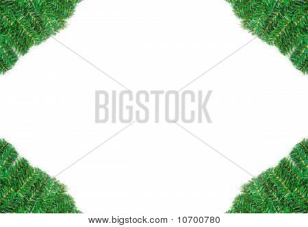 Christmas framework with holly berry isolated on white background