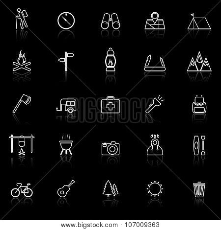 Trekking Line Icons With Reflect On Black Background