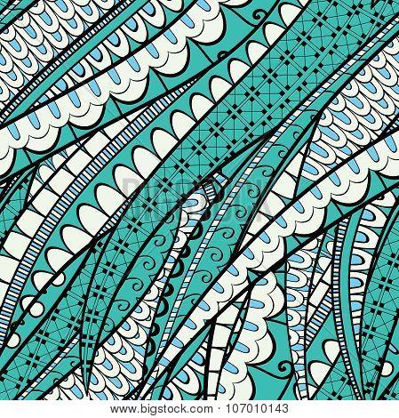 Tracery Calming Pattern. Mehendi Design. Neat Even Colorful Harmonious Doodle Texture. Silt Algae, S