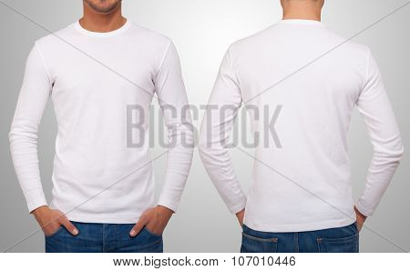 Man wearing a white t-shirt with long sleeves. Front and back version in the same image