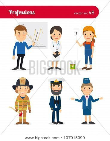 Businessman, MD, female worker and firefighter occupations