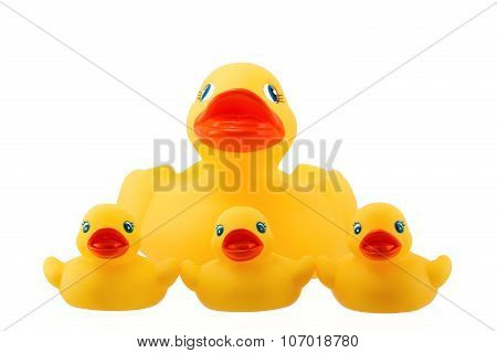 Rubber Duck Family With Three Little Ducky Isolated On White