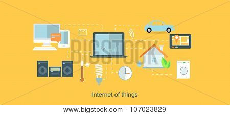 Internet of things icon flat design. Network and iot technology, web and smart home, mobile digital, wireless connect, communication equipment illustration poster