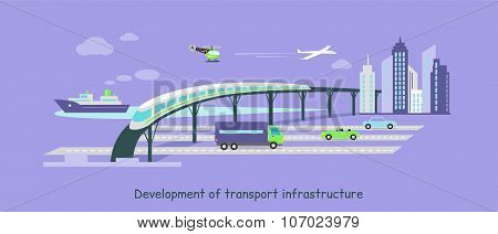 Development of Transport Infrastructure Icon Flat