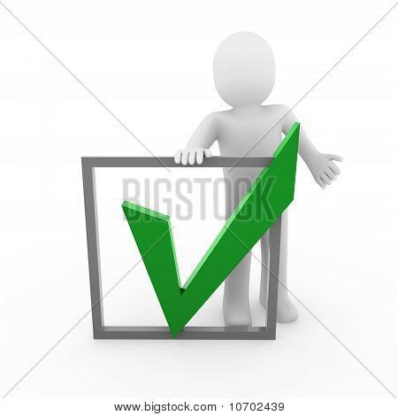 3d human check green box