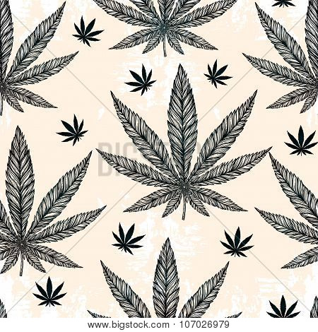 Hemp Cannabis Leaf seamless pattern.