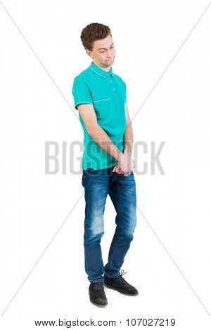 man hesitates. Isolated on white background