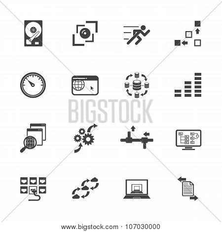 Big data concept icons set