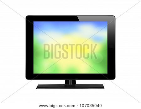 Modern Tv With Nature Screen Background