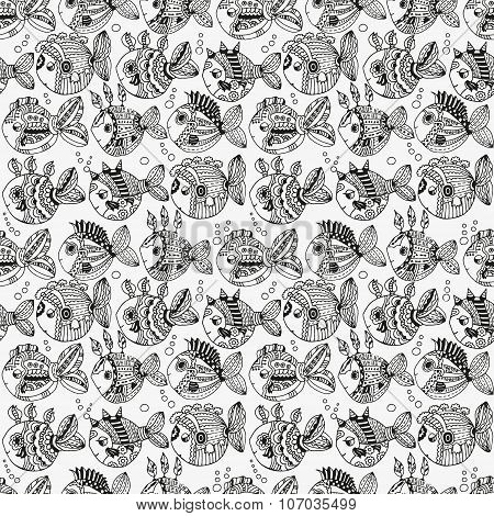 Seamless pattern with hand drawn cute fish, shells and seaweed. Lovely fish floating in the ocean wa