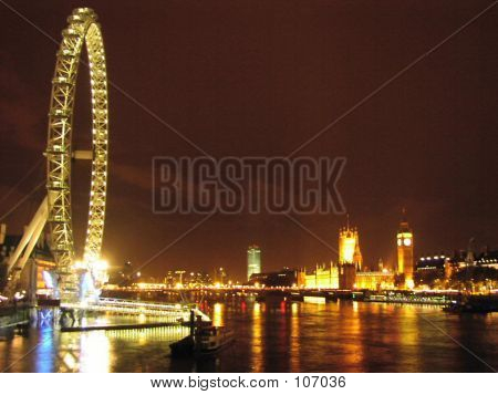 Night View Of London Eye, Big Ben And River Thames.