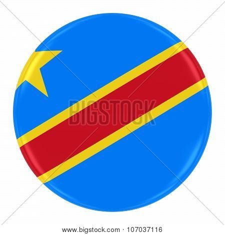 Congolese Flag Badge - Flag Of Dr Congo Button Isolated On White