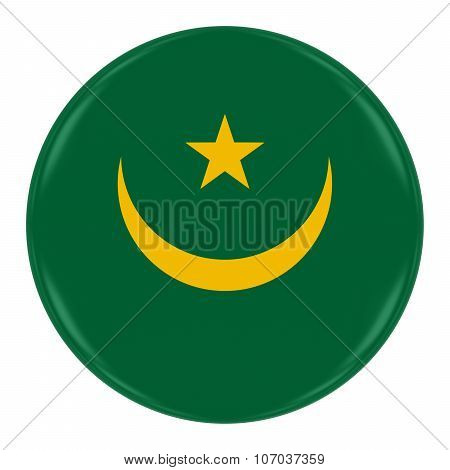 Mauritanian Flag Badge - Flag Of Mauritania Button Isolated On White