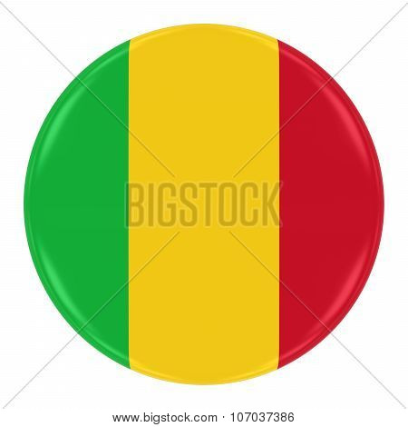 Malian Flag Badge - Flag Of Mali Button Isolated On White