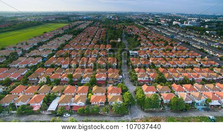 Aerial View Of Home ,house Residential Area With Good Environmental In Out Skirt Of Bangkok Thailand