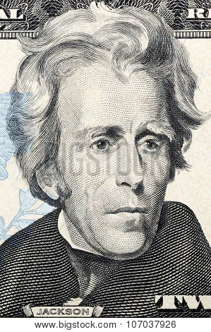 Portrait of Andrew Jackson on twenty dollars