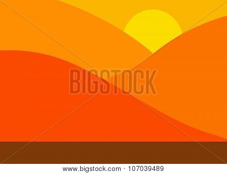 Abstract Image Of A Mountain Range With Sun