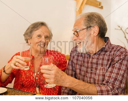 Old couple toasting and looking happy at a restaurant poster