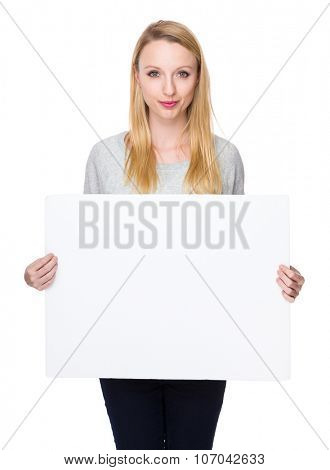 Young Woman show with white banner