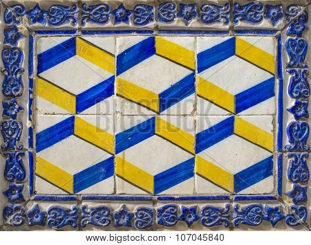 centenary ceramic tile in a old house in Lisbon, Portugal, Europe
