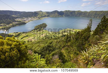 Landscape With Lakes. Lagoa Azul Lagoa Verde. Sao Miguel. Azores