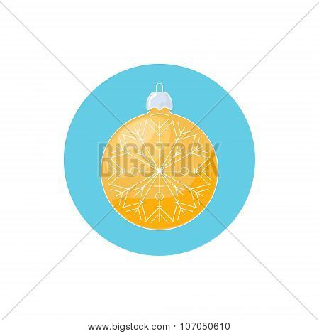 Colorful Icon Christmas Yellow Ball with Snowflake