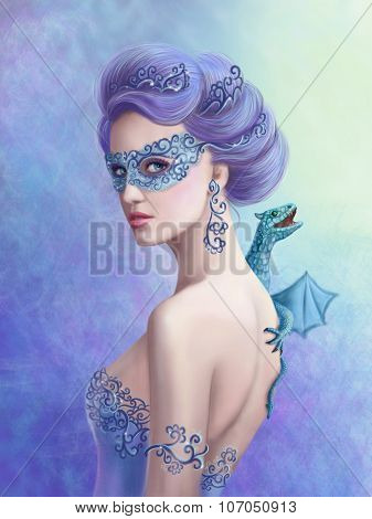 Fantasy winter woman, beautiful snow queen in mask with blue dragon