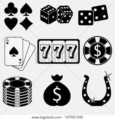 Gambling and casino flat icons set. Vector poster