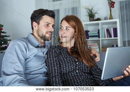 Couple Use Or Watch Something On Tablet Pc