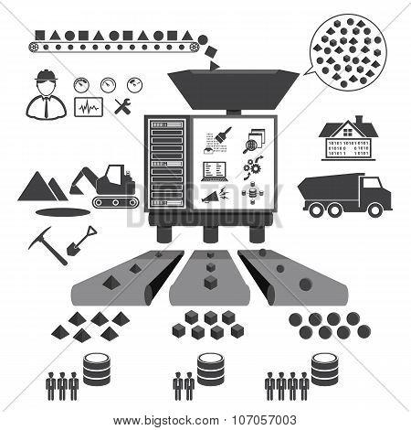 Big Data icons set, Data minning concept