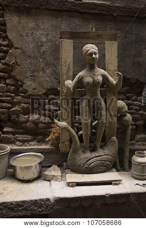Raw Figure Of Hindu Goddess Saraswati