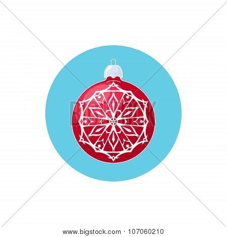 Colorful Icon Red Ball with Snowflake