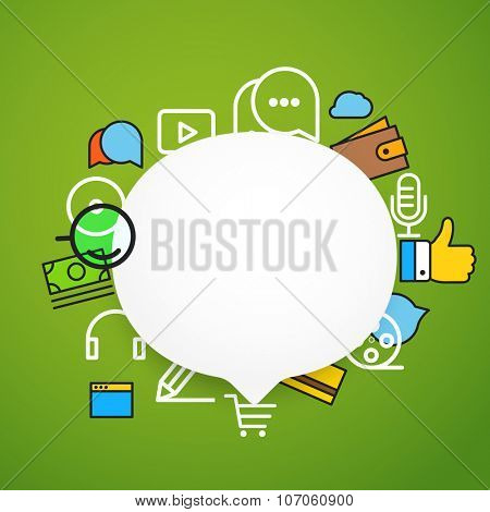Speech cloud template with different icons. Add your content on it poster