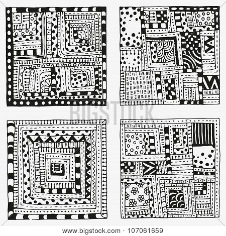 Set of patterns with abstract figures. Indian, Asian, Ethnic, zentangle, floral  doodles. Black and