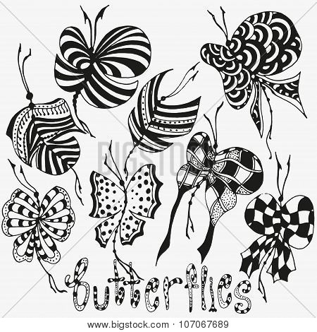 Set of butterflies  on white background. Silhouettes isolated. Stock vector. zentangle