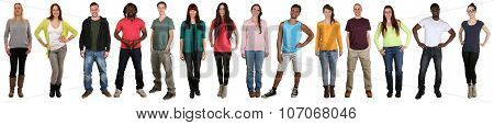 Smiling Happy Multicultural Multi Ethnic Group Of People Standing In A Row Isolated