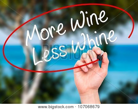 Man Hand writing More Wine Less Whine with black marker on visual screen.