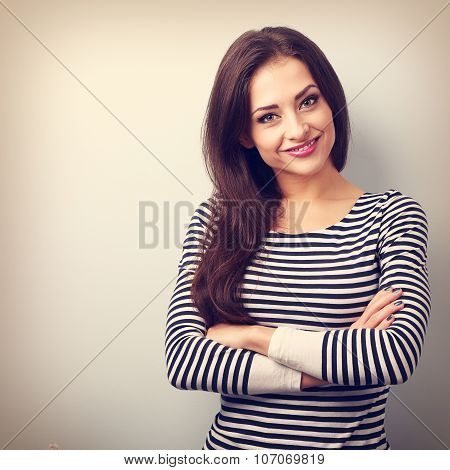 Beautiful Confident Casual Woman With Folded Hands Looking Happy. Vintage Closeup Portrait