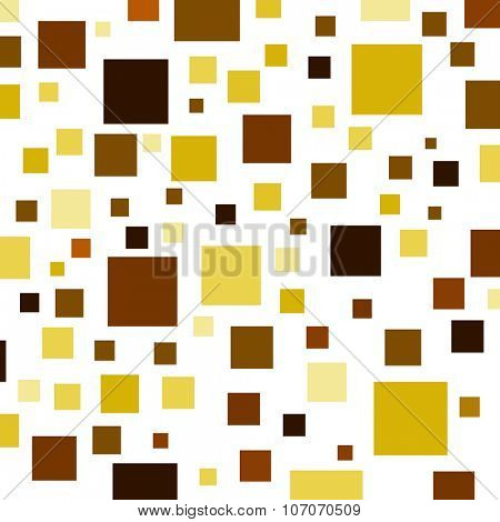 Brown, yellow and orange color squares on a white background.